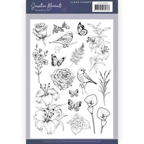 Birds & Flowers Jeanine's Art  5 x 7' Clear Stamps