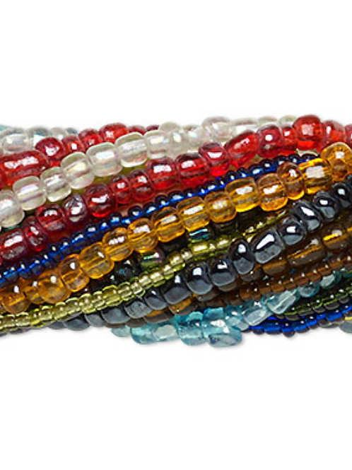 Seed Bead mix, glass, mixed colours #10 #8 #6 20 14' strands