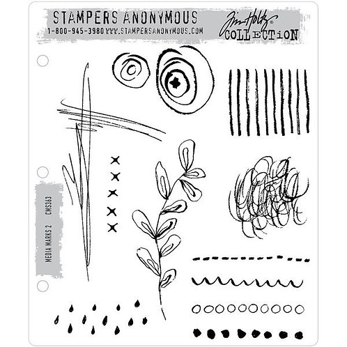 """""""Media Marks 2"""" Tim Holtz Cling Stamps 7""""X8.5"""" by Stampers Anonymous"""