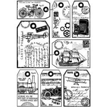 "Crafty Individuals Unmounted Rubber Stamp 4""X6"" ""Travel Tags""​​​​"