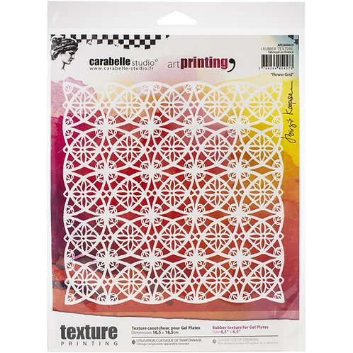 "Carabelle Studio Art Printing Rubber Texture Plate ""Flower Grid"""