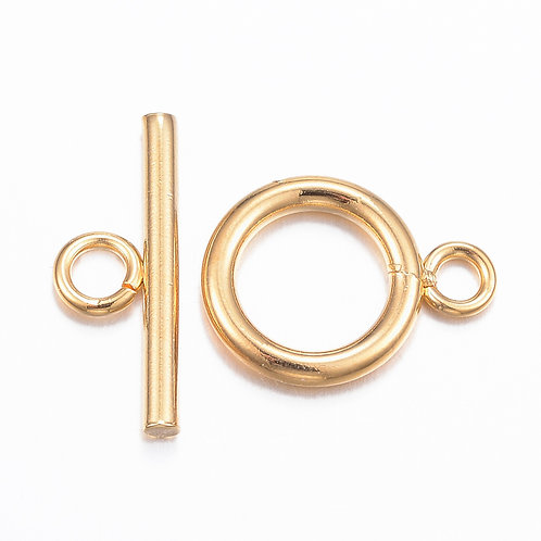 16mm Golden Stainless Steel Toggle Clasps 5 Sets