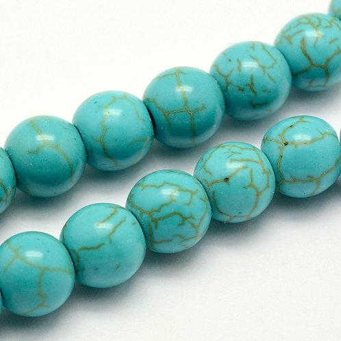 10MM Synthetic Turquoise Round Gemstone Beads.