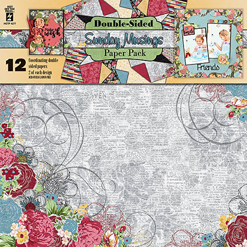 """""""Sunday Musings"""" 12x12  Scrapbooking & Card Making Project Paper 12pc pa"""