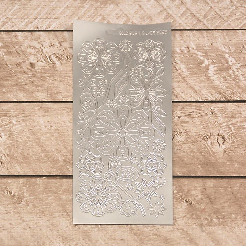 Craft &  Scrapbooking Stickers Silver Flowers