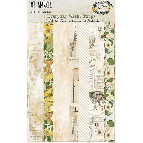 "49 Market Everday Washi Strips Tape 2 5x7"" sheets"