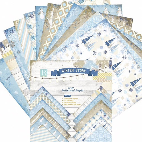 """6x6 inch """"Winter Story Paper Pack 24pc Pack"""