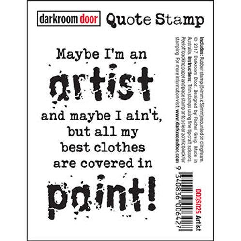 """Darkroom Door - """"Artist"""" Quote Rubber Stamp"""