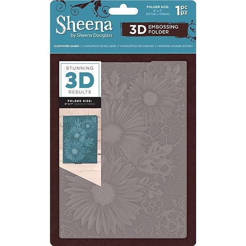 "3D Embossing Folder by Sheena Douglas ""Clockwork Daisies"" 5x 7"""