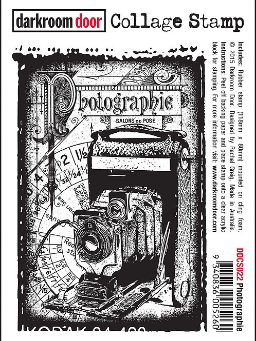 "Darkroom Door Collage Stamp - ""Photographie"""