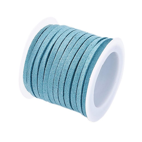 Cadet Turquoise Blue Flat Faux Suede Cord, Faux Suede Lace 3mm x 1.5mm x 5m
