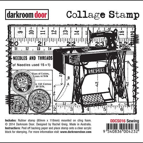 """Darkroom Door Collage Stamp - """"Sewing"""""""