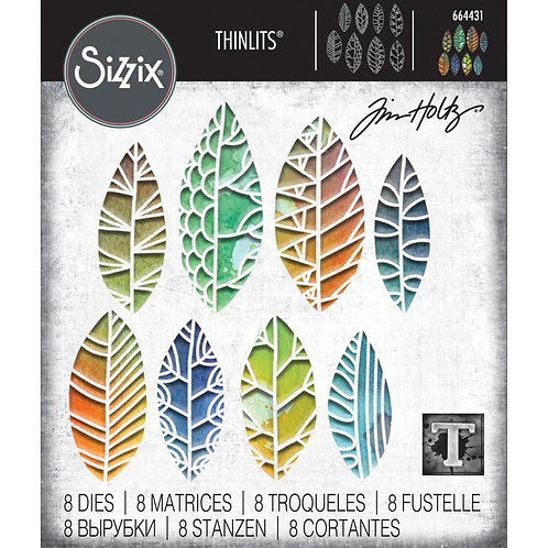 """Sizzix Thinlit Dies""""Cut Out Leaves"""" by Tim Holtz 8pcs"""