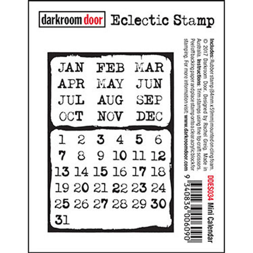 "Darkroom Door - ""Mini Calendar"" Eclectic Rubber Stamp"