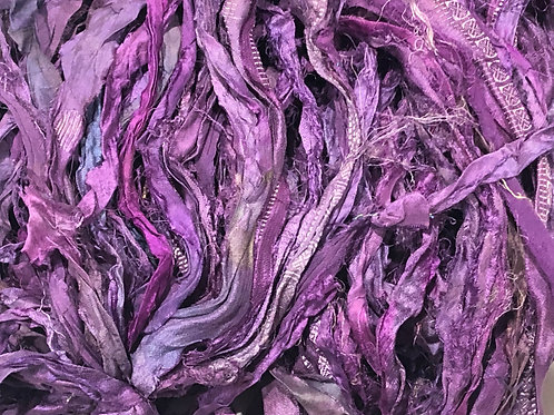 5M Sari Silk Purple Tones  (5 Meters)