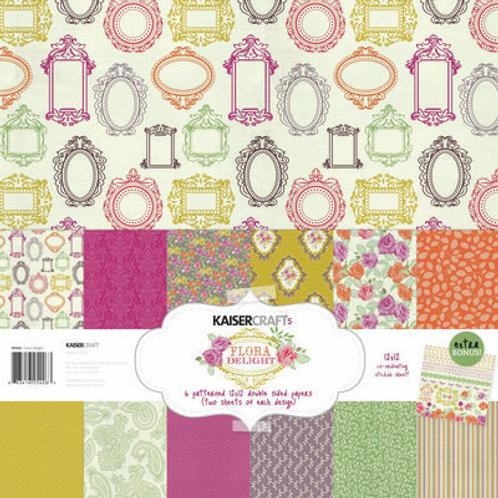 """Kaisercraft 12x12 Paper Pack with Bonus Sticker Sheet """"Flora Delight"""""""