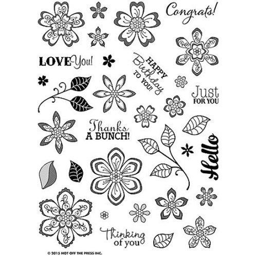 """Flower Frenzy"" Polymer 3 step Stamp Set - 33 acrylic Stamps"