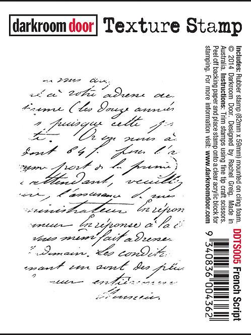 """Darkroom Door - """"French Script"""" Texture Rubber Stamp"""
