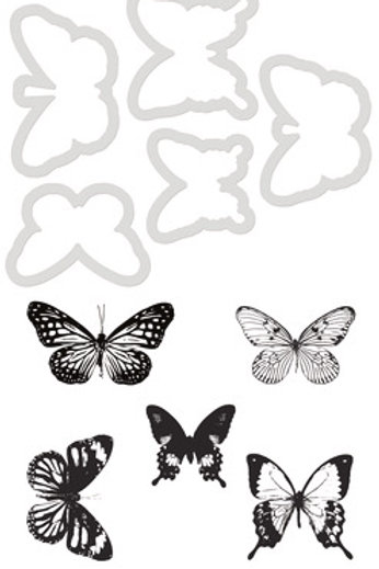 "Kaisercraft Decorative Clear Acrylic Stamp & Die Set ""Butterflies"""