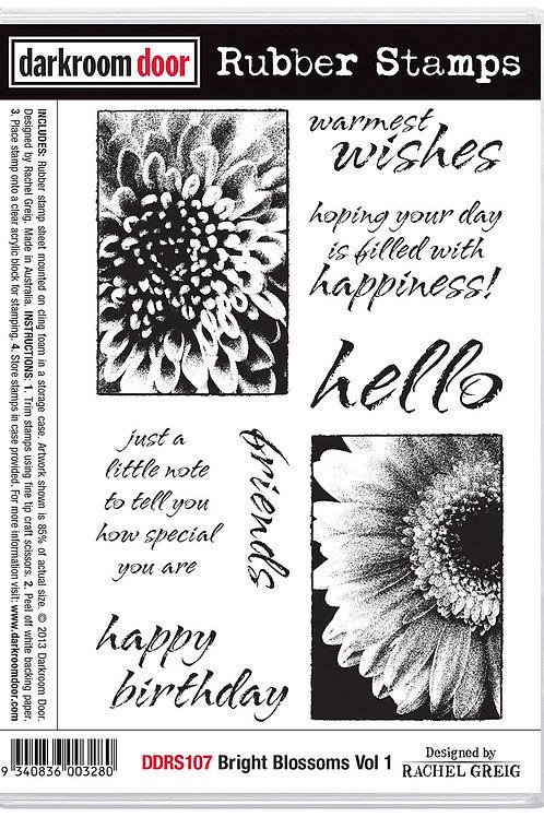 "Darkroom Door - ""Bright Blossoms Vol 1""  Cling Rubber Stamp"