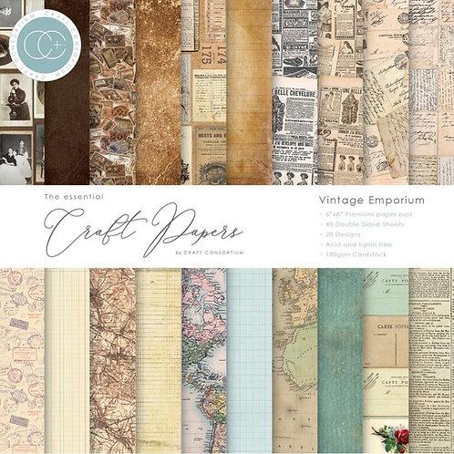 """Craft Paper  6""""x 6."""" Paper Pad 20 pages """"Vintage Emporium"""""""