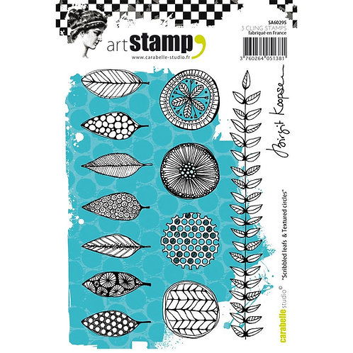 "Carabelle Studio Cling Stamp A6 ""Scribbled Leaves & Textured Circles"""