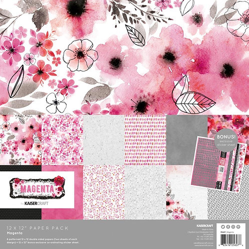 "Kaisercraft 12x12 Paper Pack with Bonus Sticker Sheet ""Magenta"""