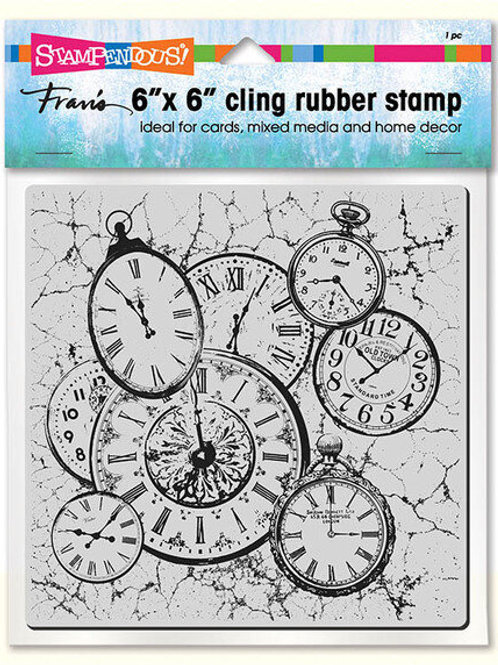 """""""Clock Collage"""" 6""""x6"""" Background Stampendous Cling Mount Rubber Stamps"""