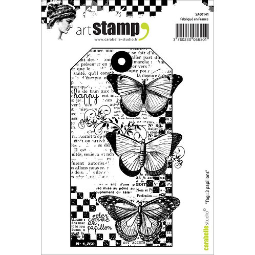 "Carabelle Studio Cling Stamp A6 ""Tag:3 Papillions"""
