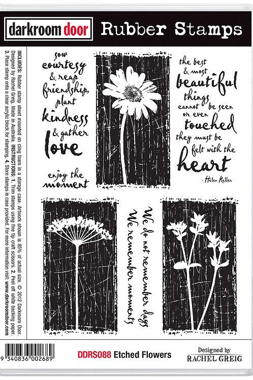 """Darkroom Door - """"Etched Flowers""""  Cling Rubber Stamp"""