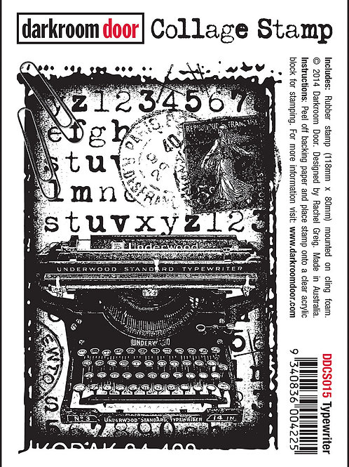 "Darkroom Door Collage Stamp - ""Typewriter"""