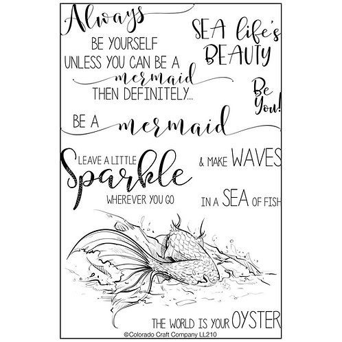 """Colorado Craft Company """"Be a Mermaid"""" Clear Stamps 4 x 6"""""""
