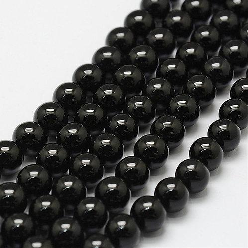 8MM Black Agate Round Gemstone Beads.