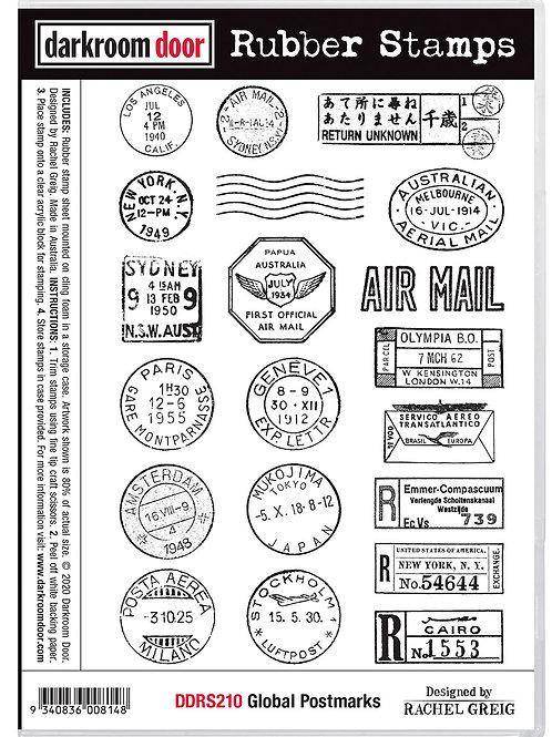 "Darkroom Door - ""Global Postmarks""  Cling Rubber Stamp"