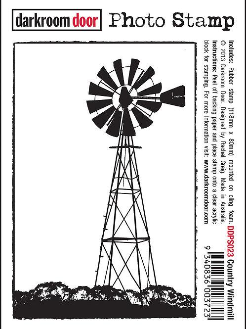 """Darkroom Door - """"Country Windmill"""" Photo Rubber Stamp"""