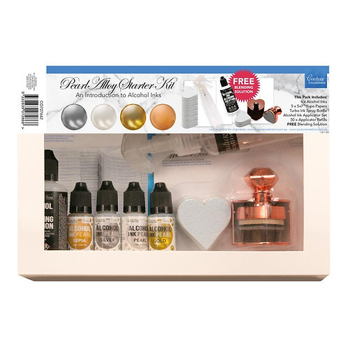 Alcohol Ink - Pearl Alloy Starter Kit - 4 inks, blending sol, applicator to