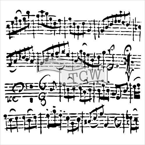 """TCW - 6x6 Stencil -  """"Mini Sheet Music"""""""
