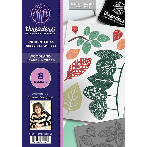 """A5 Unmounted Rubber Stamps """"Woodland Leaves & Trees"""" By Crafters Companion"""