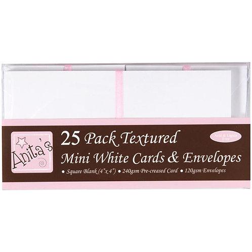"""Anita's Mini Textured Cards W/Envelopes 4""""X4"""" 25/Pkg"""