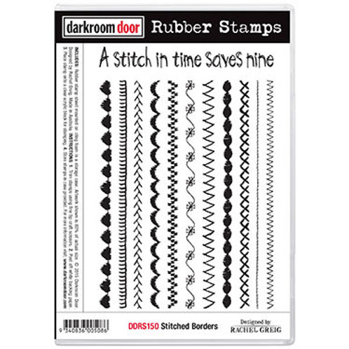 "Darkroom Door - ""Stitched Borders""  Rubber Stamp"