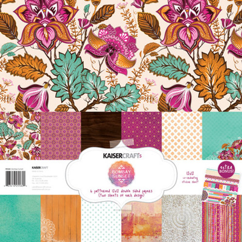 "Kaisercraft 12x12 Paper Pack with Bonus Sticker Sheet ""Bombay Sunset"""