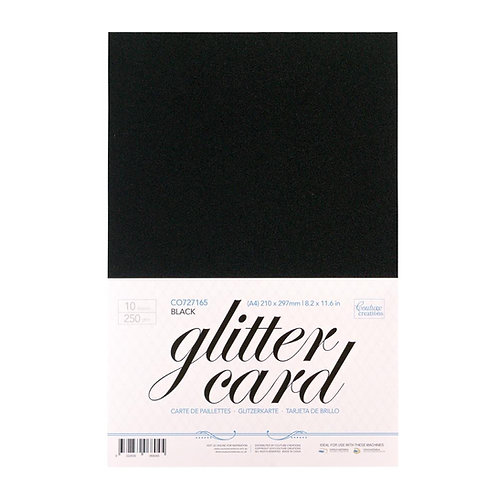 Glitter Card - Black  A4 - 250gsm (10 sheets per pack)