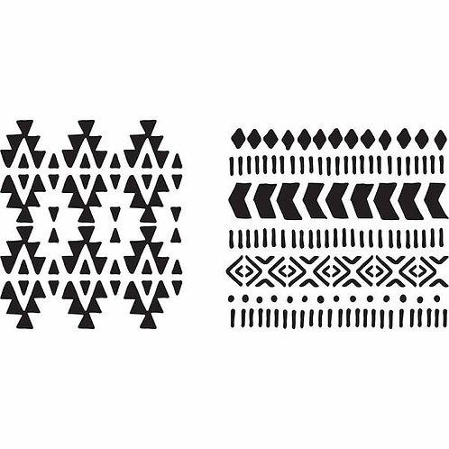 """Plaid Stencils 6x6 """"Aztec"""""""