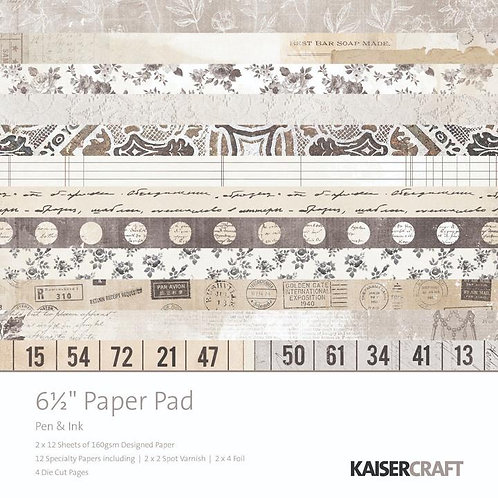 "Kaisercraft  6.5""x 6.5"" Paper Pad 24 pages ""Pen & Ink"""