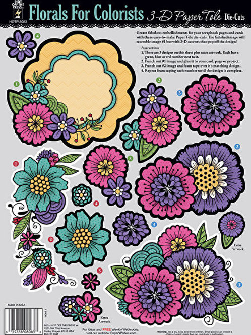 A4 Sheet -3D Paper Tole Die Cuts - Florals for Colorists
