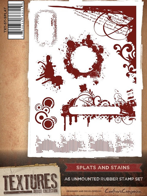 """""""Splats & Stains"""" Crafters Companion Unmounted Rubber Stamps"""
