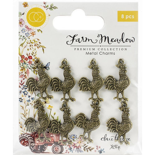 Craft Consortium Farm Meadow Metal Charms 8/Pkg Roster Charms