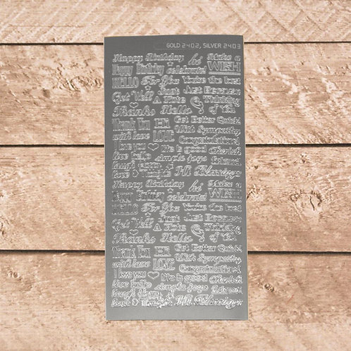 Craft &  Scrapbooking Stickers Silver Words