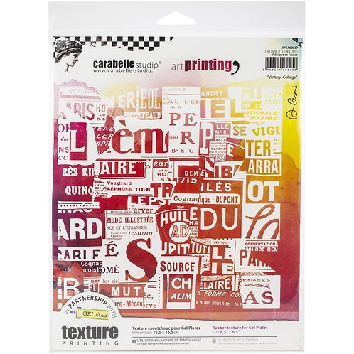 """Carabelle Studio Art Printing Rubber Texture Plate """"Vintage Collage"""""""