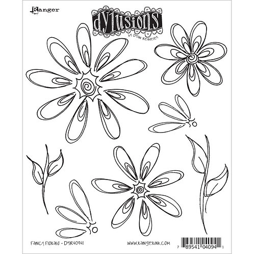 "Dylusions ""Fancy Florals"" Cling Rubber Stamps"